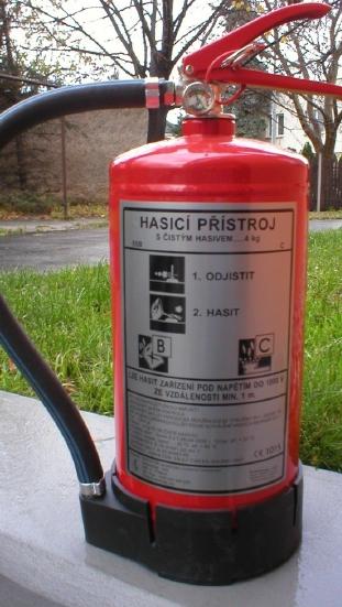 Hasicí přístroj s čistým hasivem